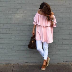 Light Pink Off The Shoulder Dress/Tunic
